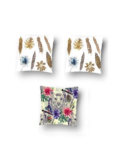 Tezkotekstil Tezko Tekstil Leopar Desen Dijital Baskılı 3'Lü Kombin Dekoratif Yastık Kırlent Kılıfı Renkli